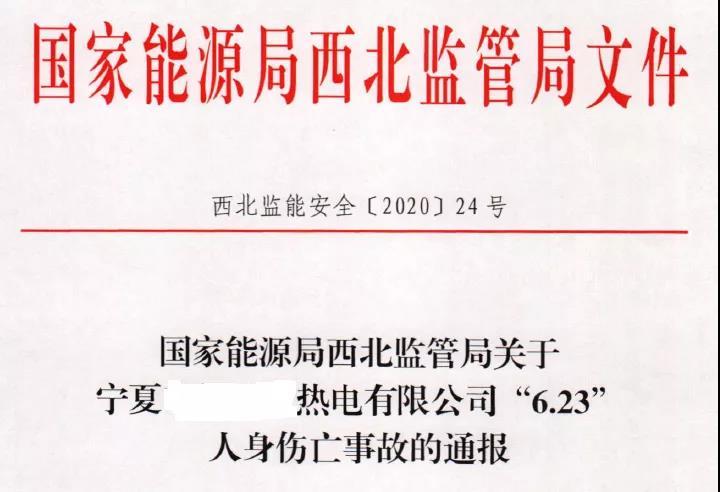 """死亡2人!西北能源监管局关于宁夏某热电公司""""6"""