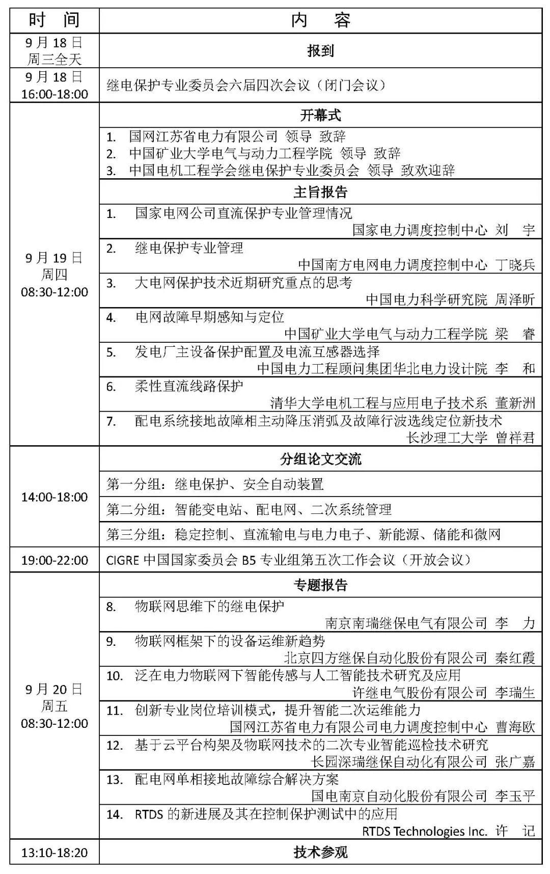 2019第十七届保护和控制学术研讨会•会议日程